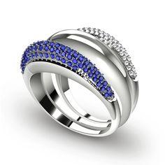 Anel Krzywy Top Shiny-Anel com Safira Azul e Diamante