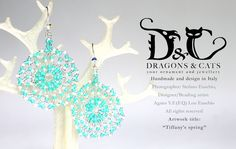 Tiffany's Spring #earrings handmade  #jewelry of #tiffany colour #seedbead with #silver earwire. For more details please visit https://www.facebook.com/dragons.and.cats