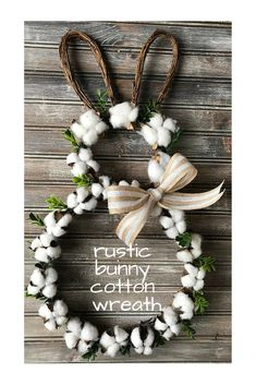 Cute cotton boll Easter bunny grapevine wreath, door hanger decoration. Looks great for spring with the white cotton! #easter #easterbunny #ad #wreath #cotton #bunny #farmhousedecor #rustic