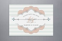 Striped Sweet Nothings Save the Date Postcards by Frooted Design at minted.com