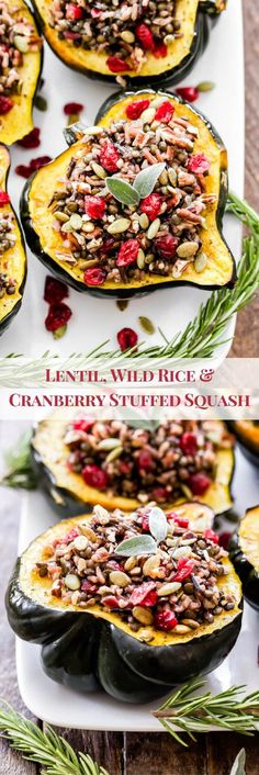 Lentil, Wild Rice and Cranberry Stuffed Squash will not only be a beautiful and flavorful side dish for your Thanksgiving table, but they're hearty enough to be a main dish for your vegetarian or vegan guests. Veggie Recipes, Fall Recipes, Holiday Recipes, Whole Food Recipes, Vegetarian Recipes, Dinner Recipes, Cooking Recipes, Healthy Recipes, Vegan Vegetarian