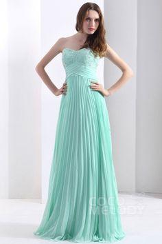 Luxurious Sheath-Column Sweetheart Floor Length Chiffon Glacier Bridesmaid Dress COZF13008#Cocomelody#bridesmaiddress#bridesmaidgown#