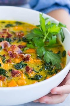Creamy Sweet Potato Bacon Chowder: a cozy soup loaded with sweet potatoes kale and bacon. Its hearty nutritious and so comforting! Potato Bacon Soup, Sweet Potato Kale, Paleo Recipes, Real Food Recipes, Soup Recipes, Potato Recipes, Delicious Recipes, Whole 30 Soup, Recetas Whole30
