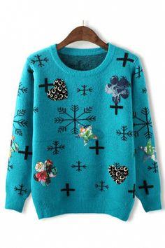 Let it snow ... Let it snow ...Let it snow! Blue Snowflower Pattern Pullover Sweater #Blue #Snowflake #Sweater  #Winter #Fashion