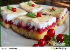 Zasněžená rybízová buchta - báječná a rychlá recept - TopRecepty.cz Dessert Recipes, Desserts, Sweet Tooth, French Toast, Cheesecake, Food And Drink, Thanksgiving, Pudding, Sweets