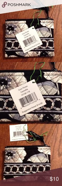 Vera Bradley Coin Purse Measures 5 inches wide, 3 1/2 inches tall, zips on top, NWT, pattern is Camellia Vera Bradley Bags