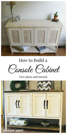 How to build a Gorgeous DIY Console Cabinet. Great for use as an entryway table or in a dining room as a DIY buffet table. Free building plans and step by step tutorial furniture livingroom DIY Console Cabinet with Open Shelf Diy Furniture Table, Diy Furniture Plans Wood Projects, Building Furniture, Plywood Furniture, Furniture Makeover, Diy Table, Furniture Storage, Furniture Ideas, Diy Living Room Furniture
