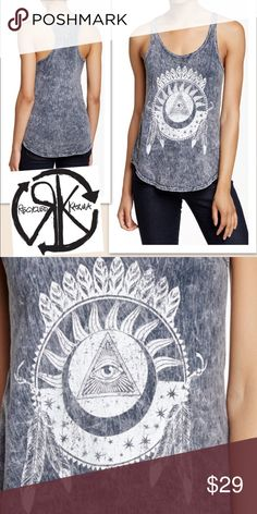 "Recycled Karma Dream Catcher Tank Charcoal NWT - Cute summer tank for everyday occasion. A scooped & sleeveless racerback top is cut from acid wash cotton and styled with an evil eye dreamcatcher graphic for good karma. - Scoop neck - Sleeveless - Approx. 24"" length - Made in USA  Material: 100% cotton  Model's stats for sizing: - Waist: 24.5"" - Bust: 32"" - Height: 5'9.5"" - Hips: 35""  Model is wearing size S Tops Tank Tops"