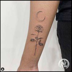 thin small flower and moon illustration fine line tattoo Hon Tattoo Line Flower, Lotus Flower, First Tattoo, I Tattoo, Tattoo Shops Toronto, Thin Line Tattoos, Moon Illustration, Tattoo Flash Art, Nikko