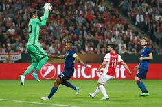 Manchester United's Argentinian goalkeeper Sergio Romero makes a save during the UEFA Europa League final football match Ajax Amsterdam v Manchester...