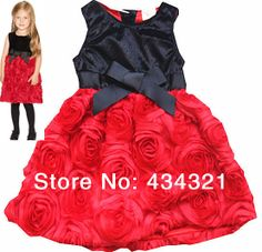 70adeba047 kids girls Red roses princess cake dress new 2014 Summer fashion baby  children Sleeveless dresses brand Bowknot design 2-6A top $36.00