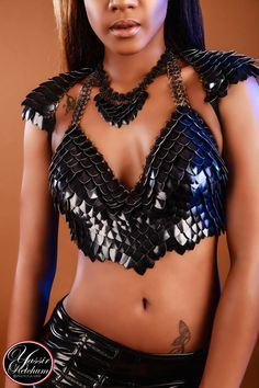 The Dark Queen-Black Scale Maille chainmaille halter bra shoulder armor LARP Burning Man Renaissance elf Scale Mail, Dark Queen, Shoulder Armor, Custom Shades, Dragon Scale, Stretch Bands, Chainmaille, Black Rings, Black Rubber