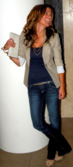 Perfect work outfit with blazer. If only I could wear jeans to work on Fridays…