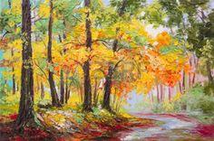 peinture à l huile: Peinture à l'huile paysage - la forêt d'automne coloré