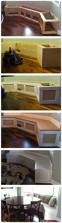 A DIY window seat in the kitchen! This tutorial breaks it down to be a super simple and affordable upgrade to any older home with bay windows!!