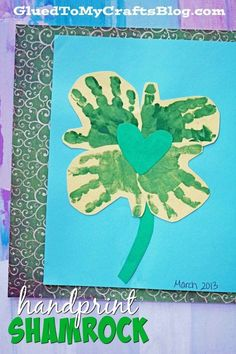 Handprint Shamrock - St. Patrick's Day Kid Craft To recreate your own Handprint Shamrock Keepsake – you will need yellow/green cardstock, green craft paint, paint brushes, scissors, adhesive, baby wipes and little hands {my son was a little over the age of two but this craft is perfect for older children too!}Then display as is or slip into a scrapbook to enjoy for years to come! Don't forget to write their age, date and name somewhere on the keepsake so you remember when it was made!