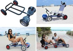 This is Hoverseat.it turns your HoverBoard inti a mini electric vehicle.You secure the device to your hoverBoard then add a beach chair. Beach Cart, Diy Go Kart, Beach Buggy, Off Road, Mini Bike, Mechanical Engineering, Car Wheels, Electric Scooter, Bike Design