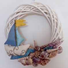 Ghirlanda estiva con barca e conchiglie Diy handmade  Summer wreath Boat, shells, waves