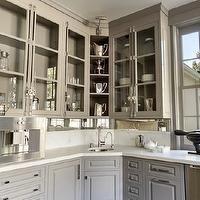 Veranda - kitchens - warm gray wet bras, warm gray kitchens, warm gray kitchen cabinets, warm gray crown moldings, warm gray window moldings...