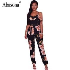 1240969c89b Abasona Women Overalls Summer Jumpsuits Ruffles Bow Sashes Spaghetti Strap Women  Jumpsuits Casual Printed Playsuit Romper