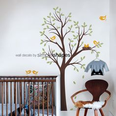Hey, I found this really awesome Etsy listing at https://www.etsy.com/listing/62625621/baby-nursery-wall-decal-tree-with-birds
