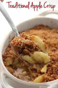 This Traditional Apple Crisp recipe will make for a great family dessert this fall. Apples topped with an oat streusel topping then baked, comfort food at