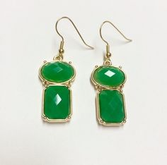 Beautiful Green and Gold Dangly Earrings by MonetDesigns on Etsy