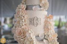 Julie Deffense Artistry — You light up my life Tall Cakes, Dream Cake, Party Hairstyles, Monogram Wedding, Piece Of Cakes, Sugar Flowers, Light Up, Wedding Cakes, Reception