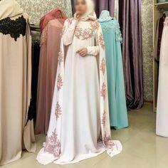 No photo description available. Abaya Fashion, Muslim Fashion, Modest Fashion, Fashion Dresses, Muslim Prom Dress, Muslimah Wedding Dress, Wedding Abaya, Ball Dresses, Evening Dresses