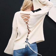 Orlina Lace-Up Sweater, Sweater - Bijou Blossoms