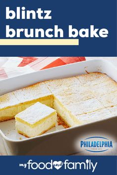Blintz Brunch Bake – This light and airy recipe is sure to brighten your next brunch! With just 15 minutes of prep, you can put together this delicious dish with PHILADELPHIA Neufchatel Cheese, POLLY-O Natural Part Skim Ricotta Cheese, and milk. Brunch Recipes, Sweet Recipes, Cake Recipes, Dessert Recipes, Soup Recipes, Recipies, What's For Breakfast, Breakfast Dishes, Breakfast Recipes