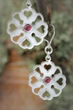 Earrings | Paarma Design  Heart is Safe Sterling earrings with pink tourmaline  128 e  www.paarmadesign.fi