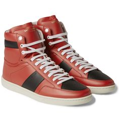 Saint Laurent, SL10H Leather High Top Sneakers(Red/Black)