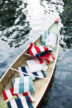 Out on the canoe with lovely towels.