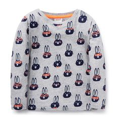 100% Cotton Tee. Jersey, long sleeve t-shirt. Features all over bunny yardage print. Regular fitting silhouette. Available in Cloudy Marle.