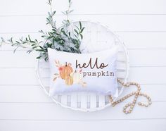 Looking for Fall decor or porch decorating ideas? This Hello Pumpkin lumbar fall pillow case is the perfect way to decorate for fall on a budget. It makes a beautiful addition to any porch and entryway decor, as well as any living room and bedroom decor. This high-quality Hello Pumpkin fall pillow case goes with any home decor style from rustic or modern farmhouse to chic boho and every style in-between. Shop this lumbar pillow case and more Fall / Autumn home decor at Pine Flat Decor! Pumpkin Pillows, Fall Pillows, Throw Pillows, Pumpkin Decorating, Porch Decorating, Decorating Ideas, Decor Ideas, Entryway Wall Decor, Bedroom Decor