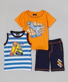 Look what I found on #zulily! Orange Dinosaur 'Skate All Day' Set - Infant & Toddler by Boys Rock #zulilyfinds