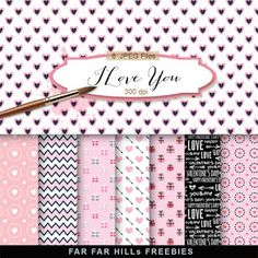 Far Far Hill - Free database of digital illustrations and papers: New Freebies Kit of Backgrounds - I Love You
