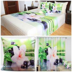 Zeleno-biela sada do spálne s bielym kvetom a bambusom Table Decorations, Furniture, Home Decor, 3d, Bamboo, Home Furnishings, Home Interior Design, Decoration Home, Home Furniture