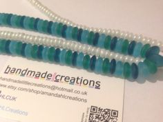 Bead Strands  Frosted Glass Turquoise Pearl by HandmadeLCreations