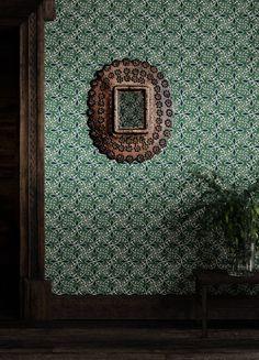 Jazz Viridian Wallpaper - Anna Hayman Designs Deep Blue, Navy Blue, Check Stock, Linoprint, Old English, Blue Accents, Wallpaper Roll, Bedroom Wall, Order Prints