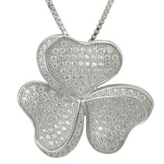 """Sterling Silver Pave Clear Cubic Zirconia 3 Hearts Pendant Necklace, 18"""" Amazon Curated Collection. $129.00. Made in China"""
