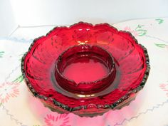 Fenton Red Hobnail Ashtray Chip and Dip by VintageLoversShop