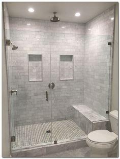 ideas for master bathroom remodel shower tile benches Master Bathroom Shower, Shower Niche, Small Bathroom, Bathroom Ideas, Basement Bathroom, Bathroom Showers, Diy Shower, Bathroom Cabinets, Shower Doors