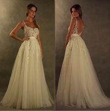 Vestido De Noiva Glamorous V volver apliques vestidos De novia elegante blanco marfil 2015 Beach Wedding Dress Vestito Da Sposa(China (Mainland))