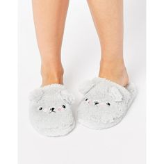 ASOS NELSON Grumpy Ted Slippers ($12) ❤ liked on Polyvore featuring shoes, slippers and grey