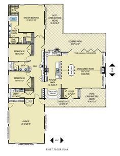 Ranch Style House Plan - 3 Beds 2 Baths 2599 Sq/Ft Plan #436-1 Floor Plan - Main Floor Plan - Houseplans.com