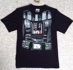 New Mens DARTH VADER T-SHIRT with DETACHABLE CAPE Black Body Costume Star Wars #MadEngine #EmbellishedTee