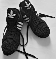 Excited to share the most recent addition to my store: Adidas Slippers Black Crochet Booties Cotton Sneakers Knit Shoes, Crochet Shoes, Crochet Converse, Knitted Slippers, Black Slippers, Creative Shoes, Shoe Pattern, Womens Slippers, Sneakers