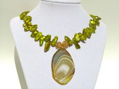 Agate Statement Necklace Green/Gold Agate Druzy by PrairieIce, $70.00